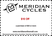 Meridian Cycles - Save $10 with Purchase of $60 or More